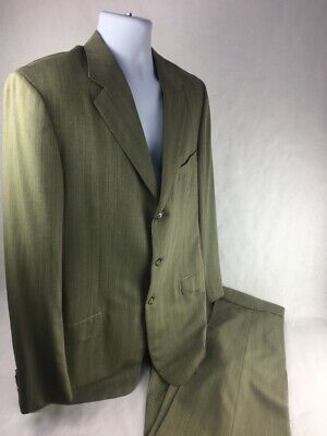Ermenegildo Zegna Neiman Marcus Mens Pant Suit Set Green Notch Lapel US 44 IT 54
