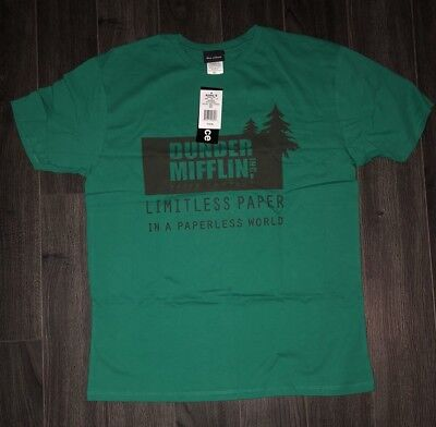DUNDER MIFFLIN T SHIRT  X-Large -The Office TV Show Green Vintage Style
