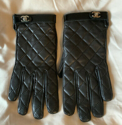 Chanel Beautiful Genuine Soft Quilted Black Leather Gloves