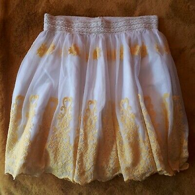 Vintage Monsoon 12-13 Years Skirt Yellow Lace Stunning