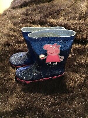 BRAND NEW - M&S Peppa Pig WELLIES Wellington Boots (Size 12) Navy Glitter