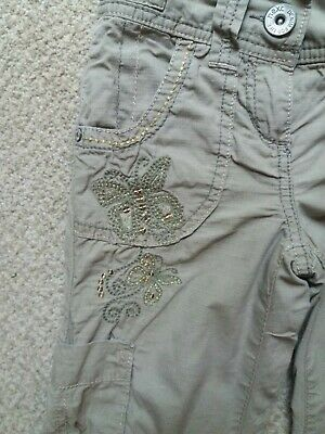 Girls Next Stone Beige Lined Cargo Trousers Age 5 Excellent Condition
