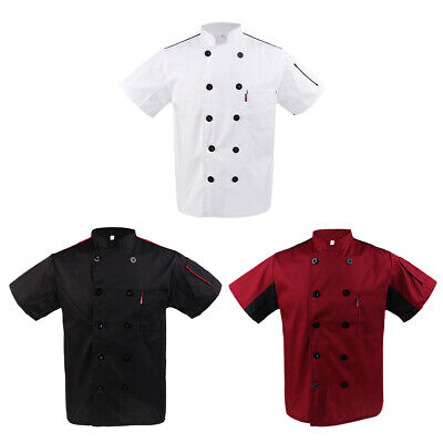 Five Star Short Sleeve Chef Jacket Chefs Coat Catering Uniform for Mens Womens
