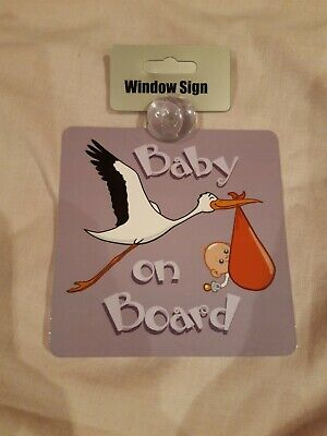 Baby On Board. Stork. Car Window Sign.  New