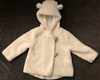 Cute Next Girls White Fluffy Coat With Ears. Duffle Fastening,Aged 12-18 Months