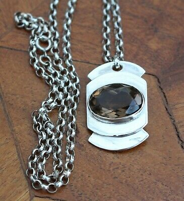 Vintage Sterling Silver Art Deco Quartz Pendant Antique Belcher Chain