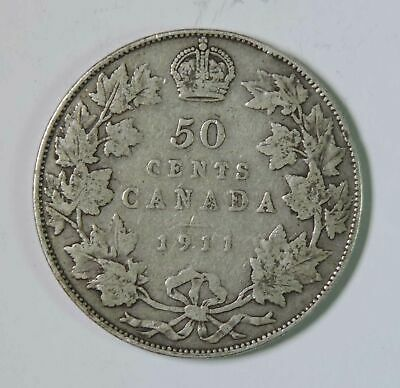 1911 Canada Canadian George V 50 Fifty Cents Silver Coin