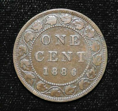 1886 Canada Canadian Victoria 1 One Cent Coin