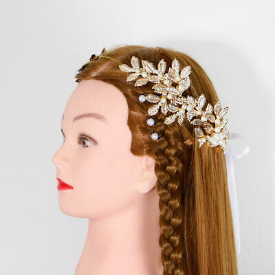 Women Gold Leaf Pearl Retro Wedding Bride Party Hair Headband Crown Tiara Prop