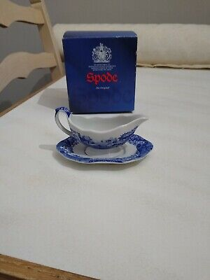 Spode Blue Italian Miniature Gravy/Sauce Boat and Stand