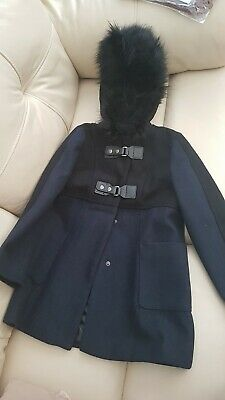 Primark Blue  And Black Girls Duffle Coat Age 7-8