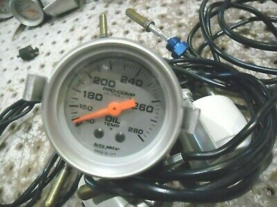 Nascar Auto Meter Oil Temp Gauge Never Used Mechanical With Mount Brkt. 140-280