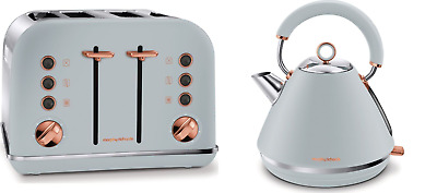 MORPHY RICHARDS 242040 4-Slice Toaster and 102040 Kettle - Grey & Rose Gold