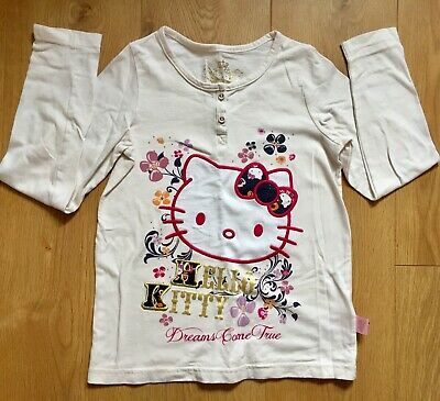 Girls M&S Hello Kitty T-shirt Top,Age 9-10, Cotton,Long Sleeved,Creamy White,VGC