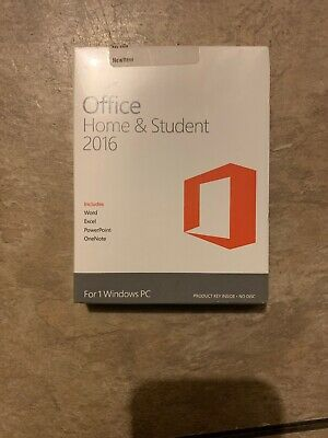 Microsoft Office Home and Student 2016 for 1 Windows PC, Product Key NEW SEALED