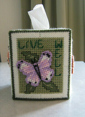 Boutique Plastic Canvas Butterfly Tissue Box Cover Holder
