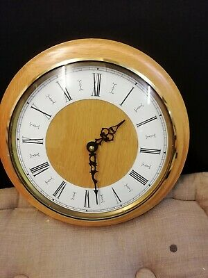 Teak Brown Glass Opening Front Door Round Wall Clock Quartz Movement