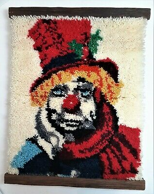 """Clown Latch Hook Rug Wall Hanging Colorful Clown 20"""" X 25"""" Completed with Trim"""