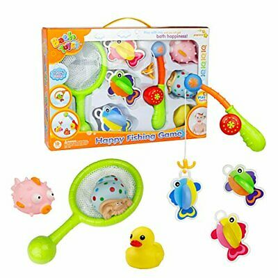 Bath Toys Fishing Game with Fishing Net Poles Rods Fishes Bathtime Tub WaterToy,