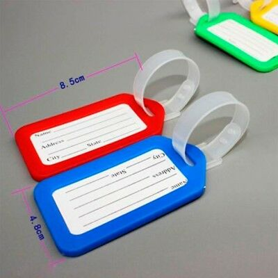 5x Travel Luggage Bag Tag ID Name Address Label Plastic Suitcase Baggage Tags Z