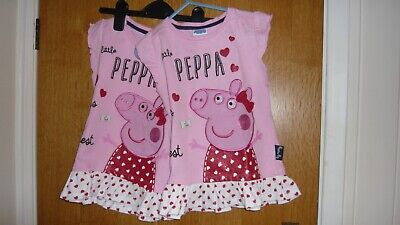 2 TWIN PRETTY PEPPA PIG DRESSES-PINK/WHITE/RED, AGE 5/6. 110/116cm. USED