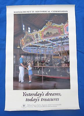 """Mass.Historical-""""Carousel Horse Poster"""" Merry Go Round-Amusement Parks-Great*"""