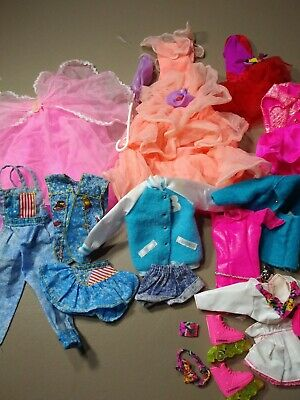 Lot (20) Barbie Doll Clothes Accesories Vintage 1990s Dress Rollerblades