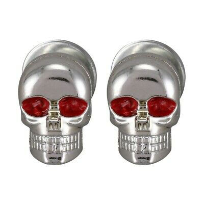 2x Universal Motorcycle Metal Chrome red Skull License Number Plate Frame S R3Z8
