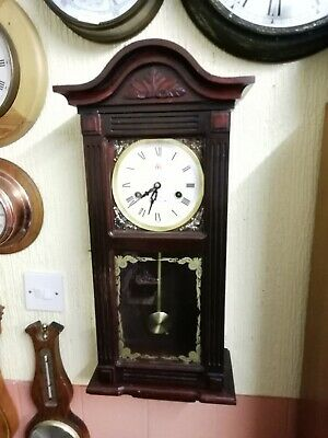 (994)  Dark Brown Wooden Long Case Wall Clock With Chimes And 31 Day Wind Up Mov