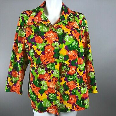 Vtg 70s Orange Green Purple Bright Floral Gold Button Blouse Top Polyester