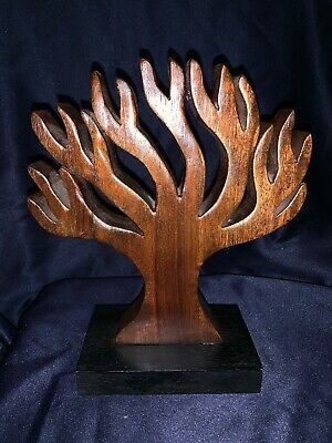 Wooden Tree & base hand carved Sculpture beautiful wood, sits on table 9.75""