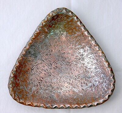 Persian / Middle Eastern Engraved Copper Triangular Footed Tray. Ornately Worked