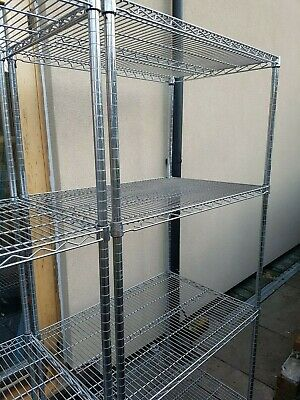 4 TIER WIRE AND CHROMED HEAVY DUTY RACKING SYSTEM 90 X 60 X 180High A1 CONDITION