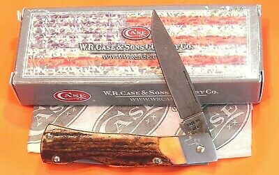 Case xx 1989 Lock Back Hunter Knife (51059 L D) -Great Stag Handles & Damascus