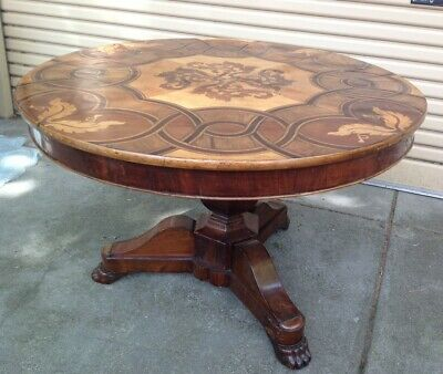 Antique Timber Marquetry Dining Table with Glass Protective Top