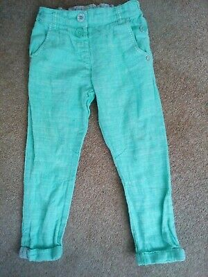 Next Girls Trousers Pale Green age 3-4 years