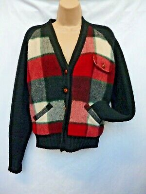 Vintage Ralph Lauren Knitted Checked Ladies Cardigan Size Small.