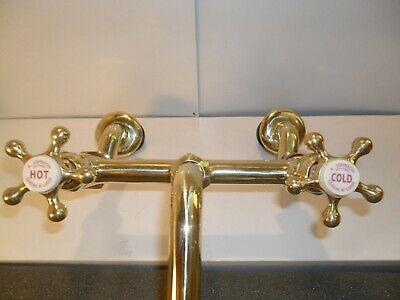 Solid brass large Original Antique Kitchen mixer Taps refurbished old vintage