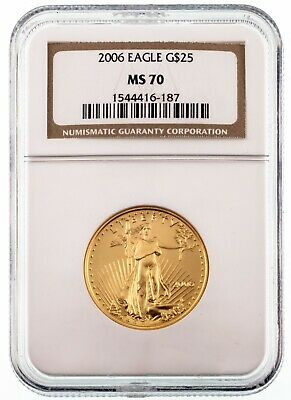 2006 1/2 Oz. Gold American Eagle G$25 Graded by NGC as MS70