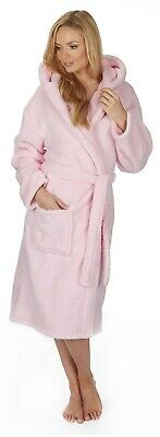 Super Soft Snuggle Thick Fleece Dressing Gown Pink Bath Robe Hooded Gift Womens