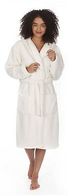 Super Soft Thick Snuggle Fleece Dressing Gown Cream Bath Robe Hooded Gift Womens