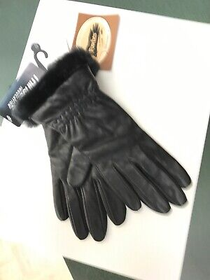NWT - WOMEN'S FOWNES BLACK LEATHER GLOVES Thinsulate LINED, Faux fur Trim, Sm