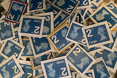 150 x UNFRANKED 2nd/SECOND CLASS BLUE SECURITY STAMPS ON PAPER - FACE VALUE £124