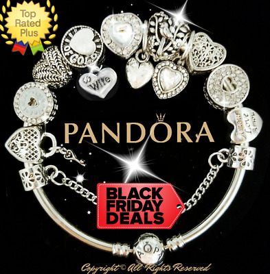 "Authentic Pandora Bracelet Silver White WIFE ""LOVE STORY""  with European Charms"