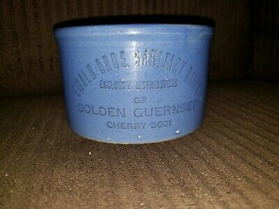 Red Wing Advertising Blue 1 Lb Butter Crock Minneapolis Mn Ewald Golden Guernsey