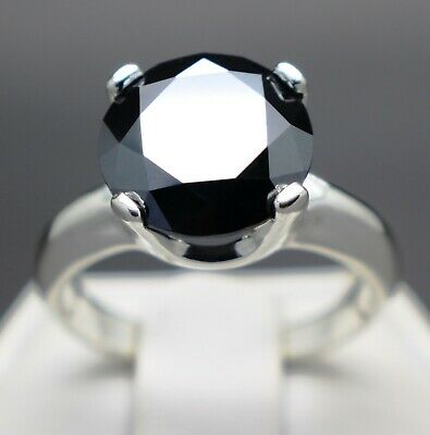 2.50cts 9.16mm Real Natural Black Diamond Engagement Size 7 Ring & $1450 Value.