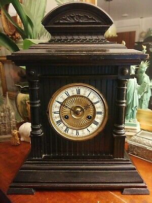 "Ebonised and gilt HAC German Vintage large striking mantle clock - 17"" high"