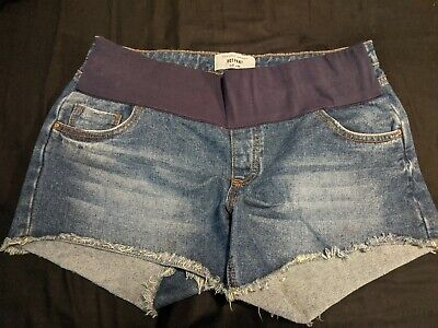 New Look under bump denim Maternity Shorts size 12 hotpant style