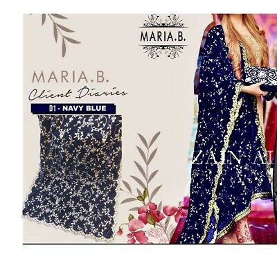 Maria B Inspired Embroidered Velvet Shawl navy blue and gold