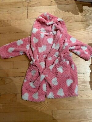 John Lewis Girls Pink hearts Dressing Gown Age 4- Super soft